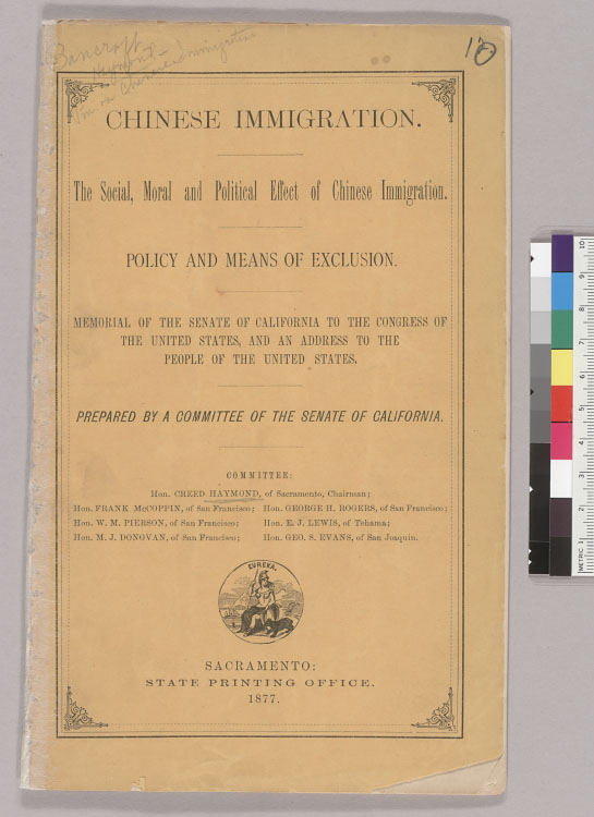 Chinese immigration: The social, moral and political effect of Chinese immigration: From Miscellaneous Selections : Anti-Chinese Movement