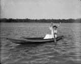 Hazel Rhoads, later to become Mrs. Charles C. Gates, at City Park lake / photo by Harry M. Rhoads.