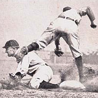 Ty Cobb in action, baseball card from 1912 (Ty Cobb Baseball Card.)