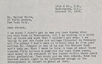 Langston Hughes (1902-1967) to Walter White, October 29, 1925