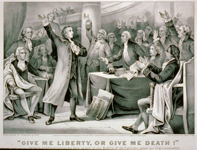 """Give me liberty, or give me death!"" Patrick Henry delivering his great speech on the rights of the colonies, before the Virginia Assembly, convened at Richmond, March 23rd 1775, concluding with the above sentiment, which became the war cry of the revolution."