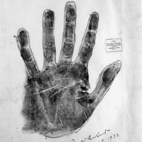 Amelia Earhart's palm print and analysis of her character prepared by Nellie Simmons Meier