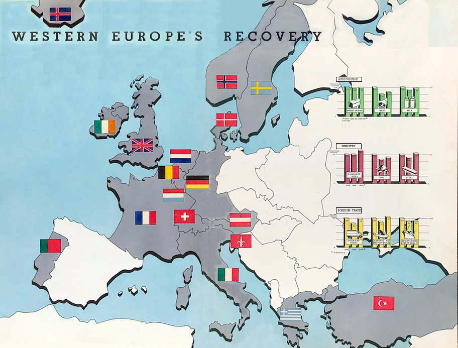 Map from The Marshall Plan at the Mid-Mark, 1950.